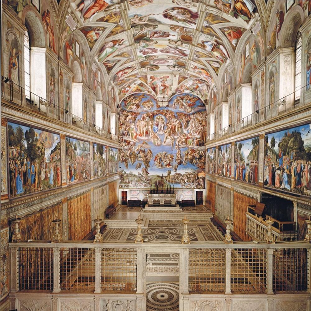 Sistine Chapel ceiling frescoed by Michelangelo