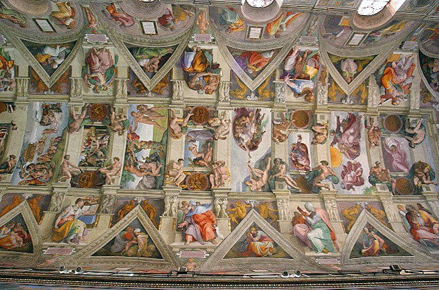 Sistine Chapel ceiling frescoed by Michelangelo