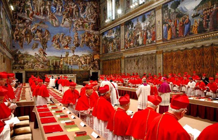 A conclave inside the Sistine Chapel