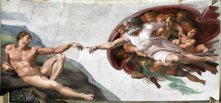 The Creation of Adam frescoed by Michelangelo in the Sistine Chapel