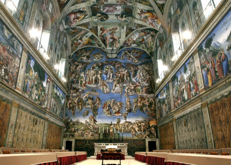 The ceiling and the Last Judgment frescoed by Michelangelo Buonarroti