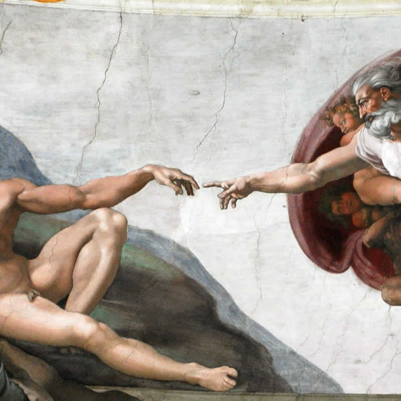 Detail of the Creation of Adam frescoed by Michelangelo in the Sistine Chapel