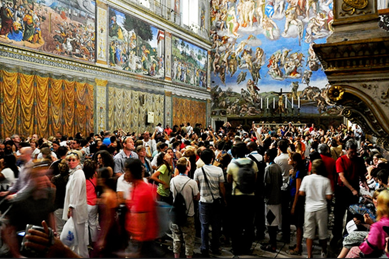 The crowd inside the Vatican Museums